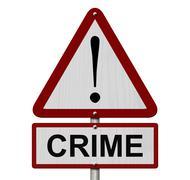 crime caution sign - stock illustration