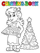 coloring book christmas topic - illustration. - stock illustration