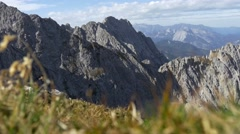 Mountain range with alpine vegetation and unfocused foreground Stock Footage