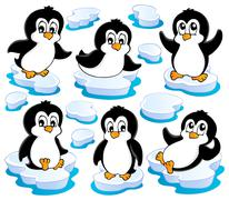 Cute penguins collection - illustration. Stock Illustration