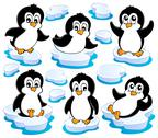 Stock Illustration of cute penguins collection - illustration.