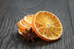 dried orange slices with anise star - stock photo