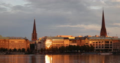 Hamburg Skyline Sunset Light Spectacular View Establishing Shot German Cityscape Stock Footage