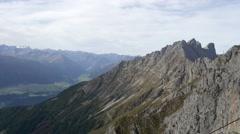 Mountain peak with Innsbruck valley Stock Footage