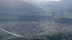 Bird eyes view of Innsbruck city from Hafelekar Stock Footage