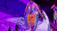 Penguins in the circus Stock Footage