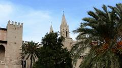 Palma de Majorca Medieval fortress wind palmtrees Stock Footage