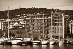 view on port of nice and luxury yachts, french riviera, france - stock photo
