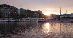 Amazing Golden Sunset Establishing Shot Hamburg Skyline Alster Lake Boat Harbor Stock Footage