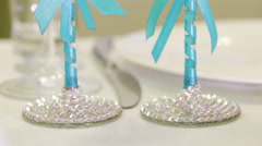 Wedding glasses with initials Stock Footage