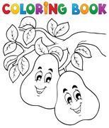 coloring book fruit theme - illustration. - stock illustration