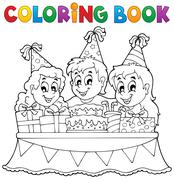 Coloring book kids party theme - illustration. Stock Illustration