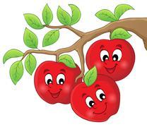 Image with apples - illustration. Stock Illustration