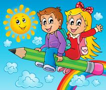 Image with pupil theme - illustration. Stock Illustration