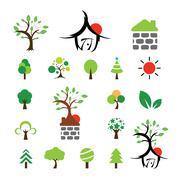 House and tree symbol set Stock Illustration