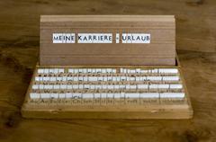 """German text: """"meine karriere=urlaub"""" (my career = vacation) Stock Photos"""