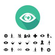 Blind man and hospital icon Stock Illustration