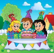 kids party theme image - illustration. - stock illustration