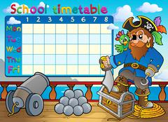 School timetable thematic image - illustration. Stock Illustration
