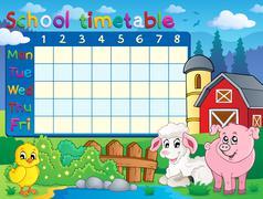 school timetable topic image - illustration. - stock illustration