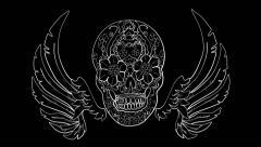 Skull Wings Tribal Tattoo Drawing (HD) Stock Footage