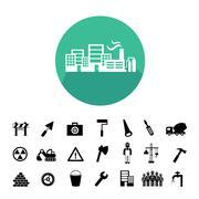 construction team  icon - stock illustration