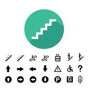 staircase symbol set - stock illustration