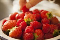 Bowl of fresh strawberries. Stock Photos