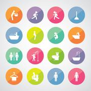 toilet and hygiene icons - stock illustration