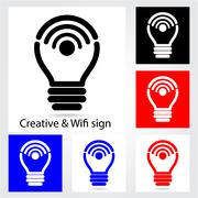 Set of creative light bulb with wifi icons for business or commercial use. ed Stock Illustration