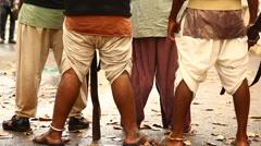 Legs on wet Road Stock Footage