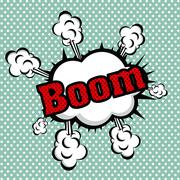 boom comics icon over dotted background vector illustration - stock illustration
