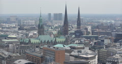 Hamburg Skyline Establishing Shot Aerial View Town Hall Buildings Roof Old House Stock Footage