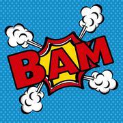 bam comics icon over blue background vector illustration - stock illustration