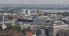Outer Alster Artificial Lake Water Sport Yachts Passing Hamburg Aerial Skyline - stock footage