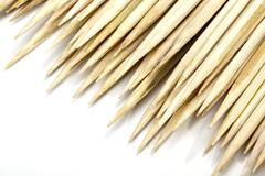 Pointed ends of wooden sticks used as skewers Stock Photos