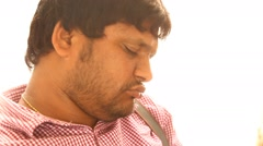 Closeup of man sleeping Stock Footage