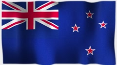 4K 3D Animation of NZ, New Zealand, Whole Flag Canvas Texture Stock Footage