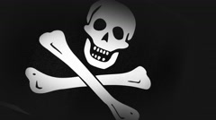4K 3D Animation of Jolly Roger, pirate Flag Closeup Canvas Texture Stock Footage
