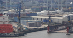 Hamburg Aerial View Harbor Blohm Voss Shipyard Trocken Dock Construction Ships Stock Footage