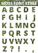 Moss font style Stock Illustration