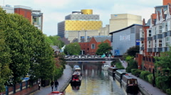 Central Library, Sea Life and ICC - view from the Birmingham Canal Stock Footage