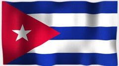 4K 3D Animation of Cuba, Cuban, Whole Flag Canvas Texture Stock Footage