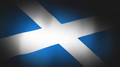 4K 3D Animation of Scottish Flag Closeup Canvas Texture Stock Footage