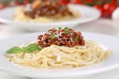 spaghetti bolognese noodles pasta meal on a plate - stock photo