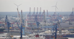 Freight Cargo Ships Container Terminal Crane Eurogate Hamburg Import Export Dock - stock footage