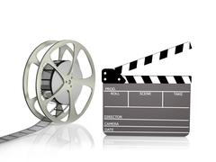 Film reel with clapper Stock Photos