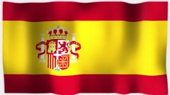 4K 3D Animation of Spain, Spanish Whole Flag Canvas Texture Stock Footage