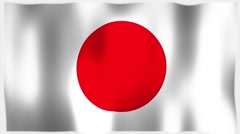 4K 3D Animation of Japan, Japanese Whole Flag Canvas Texture - stock footage