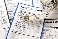 Lots of nutrition facts with tape measure Stock Photos